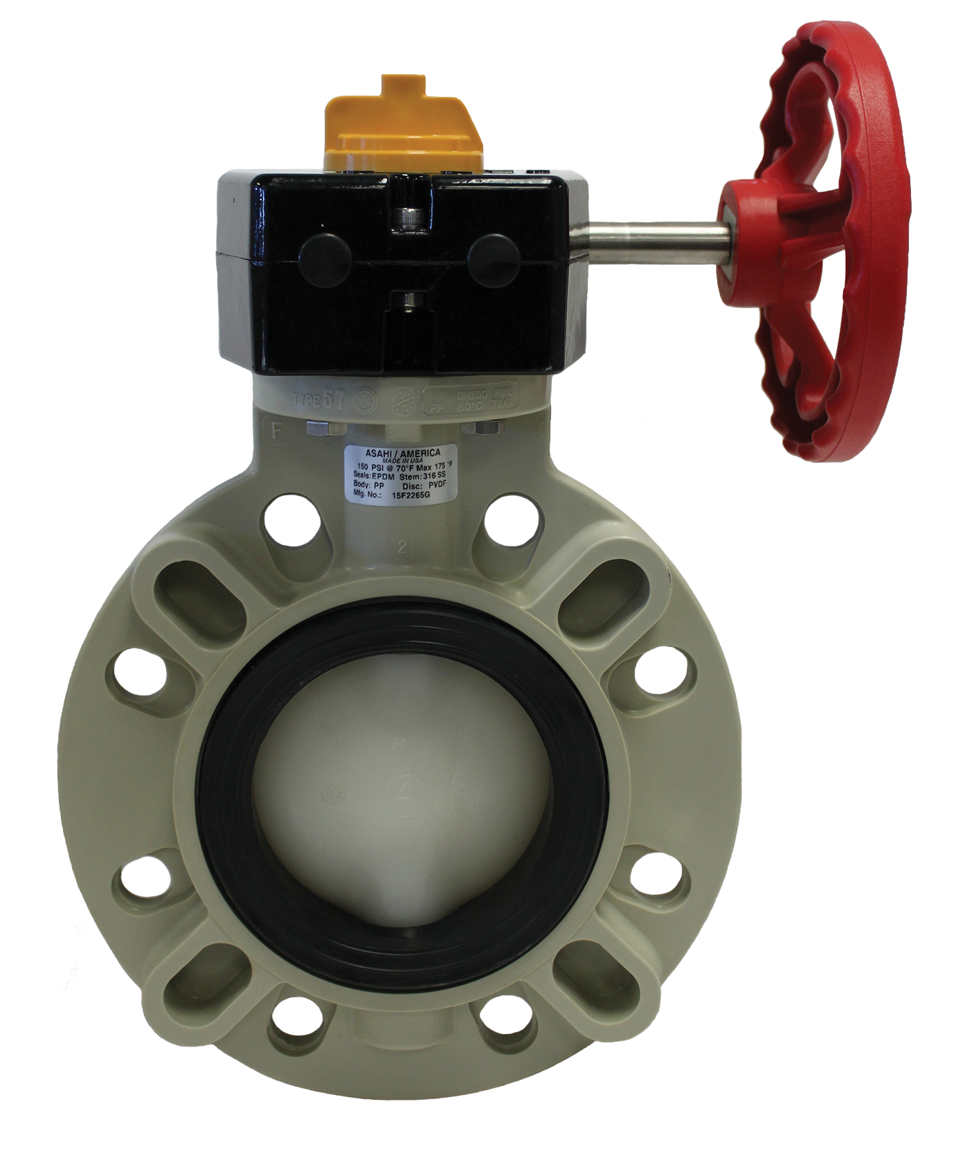 Asahitec pp rct quot type gear butterfly valve