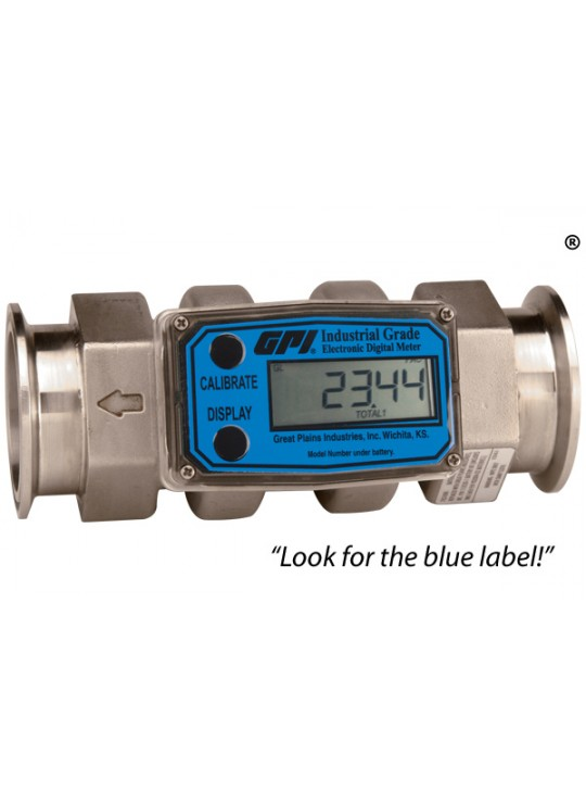 "1/2"" Stainless Steel G2 Flowmeter with 3/4""  Tri-Clover Sanitary Ends"
