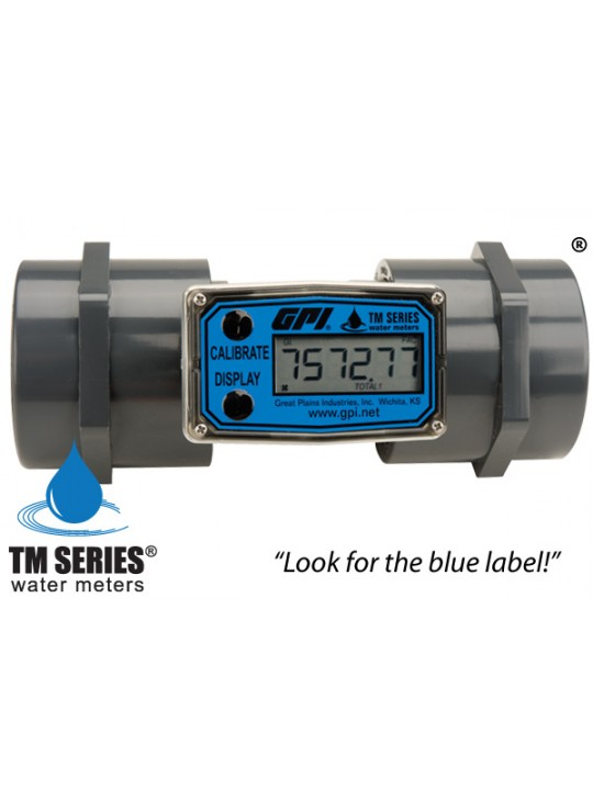 "2"" PVC-80 20-200 GPM Water Meter GPI FNPT, Flow Rate & Total"